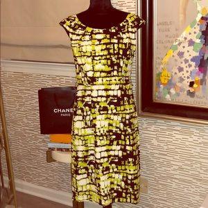 Vibrant Graphic Career Date or Night Midi Dress